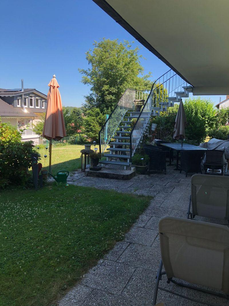 treppe vom balkon in den garten
